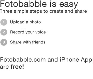 fotobabble is easy, just upload a photo, record and share